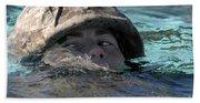 A U.s. Marine Swims Across A Training Bath Towel