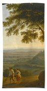A View Across The Alban Hills With A Hilltop On The Right And The Sea In The Far Distance Bath Towel