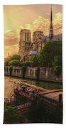 A View From Bridge Pont De L Archeveche, Archbishop Bridge, Infront Of Notre Dame De Paris Cathedr Bath Towel