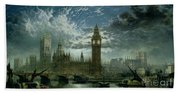 A View Of Westminster Abbey And The Houses Of Parliament Bath Towel