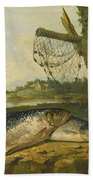 A View On The River Derwent At Belper Derbyshire With A Salmon And A Grayling On The Bank Bath Towel