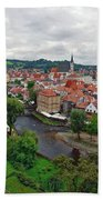 A View Overlooking The Vltava River And Cesky Krumlov In The Czech Republic Bath Towel
