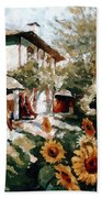 A Village In Summer Hand Towel