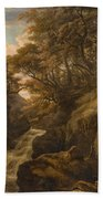 A Wooded Landscape With A Waterfall And A Fisherman Walking Along A Path Bath Towel