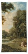 A Wooded Landscape With Venus Adonis And Cupid Bath Towel