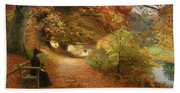 A Wooded Path In Autumn Hand Towel