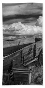 Abandoned Broken Down Frontier Wagon In Black And White Bath Towel