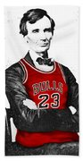 Abe Lincoln In A Michael Jordan Chicago Bulls Jersey Hand Towel