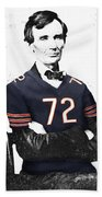 Abe Lincoln In A William Perry Chicago Bears Jersey Bath Towel