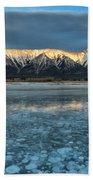 Abraham Lake Ice Bubble Sunset Bath Towel