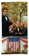 Abraham Lincoln And Stephen A Douglas Debating At Charleston Hand Towel