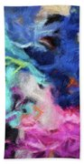 Abstract 130 Digital Oil Painting On Canvas Full Of Texture And Brig Bath Towel