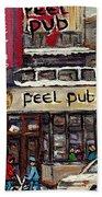 Rue Peel Montreal En Hiver Parie De Hockey De Rue Peel Pub Bath Towel