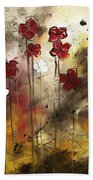 Abstract Art Original Flower Painting Floral Arrangement By Madart Bath Towel