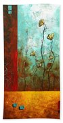 Abstract Art Original Poppy Flower Painting Subtle Changes By Madart Bath Towel