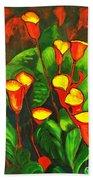 Abstract Arum Lilies Bath Towel
