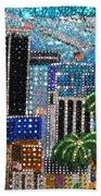 Los Angeles. Rhinestone Mosaic With Beadwork Bath Towel