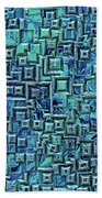 Abstract Blue And Green Pattern Bath Towel