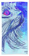 Abstract Blue Cat Hand Towel