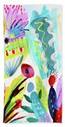 Abstract Cactus And Flowers Bath Towel