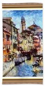 Abstract Canal Scene In Venice L A S With Decorative Ornate Printed Frame. Bath Towel