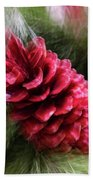 Abstract Christmas Card - Red Pine Cone Blast Bath Towel