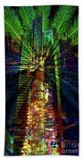 Abstract City In Green Bath Towel