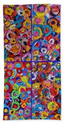 Abstract Colorful Flowers 4 Bath Towel