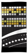 Abstract Crossword Puzzle Squares On Black Bath Towel