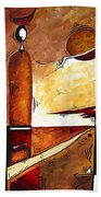 Abstract Figurative Art African Flame By Madart Bath Towel