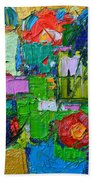 Abstract Flowers On Gold Contemporary Impressionist Palette Knife Oil Painting By Ana Maria Edulescu Bath Towel