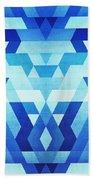 Abstract Geometric Triangle Pattern Futuristic Future Symmetry In Ice Blue Bath Towel