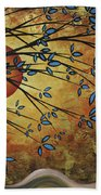 Abstract Golden Landscape Art Original Painting Peaceful Awakening I Diptych Set By Megan Duncanson Bath Towel