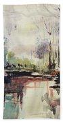 Original Watercolor Painting. Abstract Watercolor Landscape Painting Bath Towel