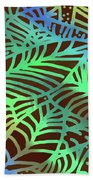 Abstract Leaves Cocoa Green Bath Towel