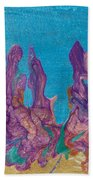 Abstract Mirage Cityscape In Blue Bath Towel by Julia Apostolova