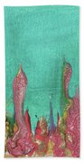Abstract Mirage Cityscape In Turquoise Bath Sheet by Julia Apostolova