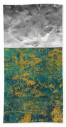 Abstract Original Painting Contemporary Metallic Gold And Teal With Gray Madart Bath Towel