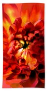 Abstract Red Chrysanthemum Bath Towel