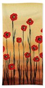 Abstract Red Poppy Field Bath Towel