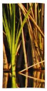 Abstract Reeds Triptych Top Bath Towel