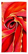 Abstract Rosebud Fire Orange Bath Towel