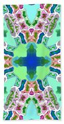Abstract Seamless Pattern  - Blue Green Purple Pink White Bath Towel