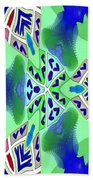 Abstract Seamless Pattern - Blue Green Turquoise Red White Bath Towel