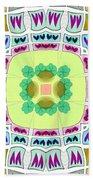 Abstract Seamless Pattern  - Yellow Green Blue Purple White Gray Bath Towel