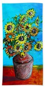 Abstract Sunflowers W/vase Bath Towel