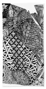 Abstract Zentangle Inspired Design In Black And White Bath Towel
