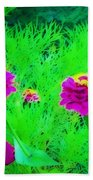 Abstract Zinnias In Green And Pink Bath Towel