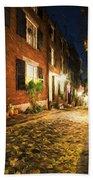 Acorn Street Autumn Boston Mass Painterly Bath Towel