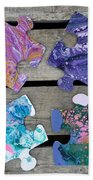 Acrylic Pouring Puzzle Pieces Bath Towel